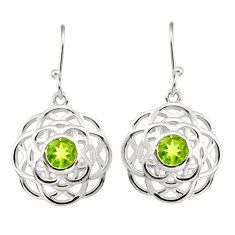 5.18cts natural green peridot 925 sterling silver dangle earrings jewelry r36709