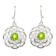 5.18cts natural green peridot 925 sterling silver dangle earrings jewelry r36710