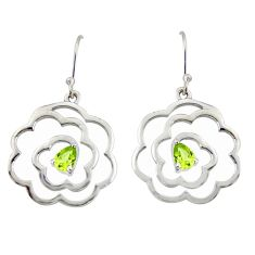 2.28cts natural green peridot 925 sterling silver dangle earrings jewelry r36721