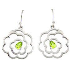 2.41cts natural green peridot 925 sterling silver dangle earrings jewelry r36722