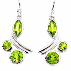 7.82cts natural green peridot 925 sterling silver dangle earrings jewelry r36752