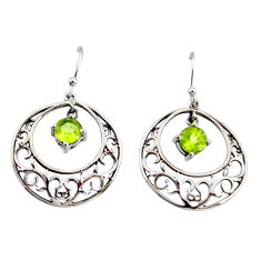 2.44cts natural green peridot 925 sterling silver dangle earrings jewelry r36781