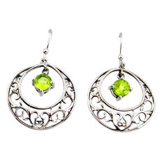 2.31cts natural green peridot 925 sterling silver dangle earrings jewelry r36782
