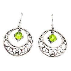 2.44cts natural green peridot 925 sterling silver dangle earrings jewelry r36783