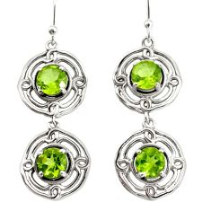 5.43cts natural green peridot 925 sterling silver dangle earrings jewelry r36821