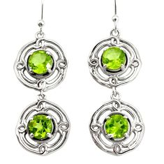 5.28cts natural green peridot 925 sterling silver dangle earrings jewelry r36825