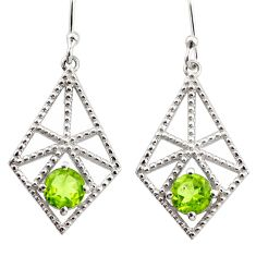 2.20cts natural green peridot 925 sterling silver dangle earrings jewelry r36866