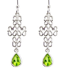 3.40cts natural green peridot 925 sterling silver dangle earrings jewelry r36881
