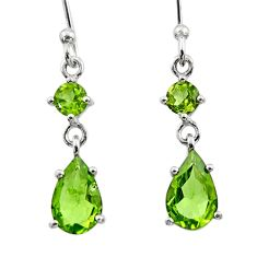 4.51cts natural green peridot 925 sterling silver dangle earrings jewelry r45367