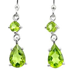 4.80cts natural green peridot 925 sterling silver dangle earrings jewelry r45436