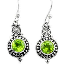 2.56cts natural green peridot 925 sterling silver dangle earrings jewelry t30052