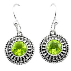 2.89cts natural green peridot 925 sterling silver dangle earrings jewelry t30069