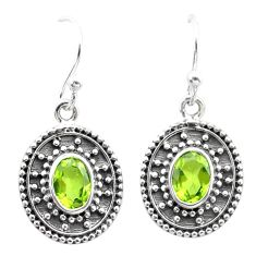 3.61cts natural green peridot 925 sterling silver dangle earrings jewelry t30166