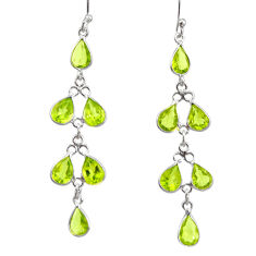 11.19cts natural green peridot 925 sterling silver dangle earrings r33123