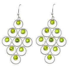 10.24cts natural green peridot 925 sterling silver dangle earrings r33221