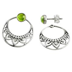1.63cts natural green peridot 925 sterling silver dangle earrings stud r71194