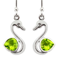 Clearance Sale- 2.60cts natural green peridot 925 sterling silver duck charm earrings d40068