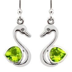 Clearance Sale- 2.72cts natural green peridot 925 sterling silver duck charm earrings d40071