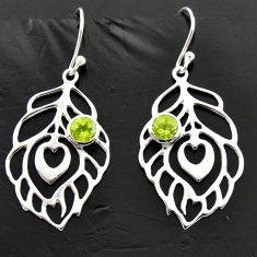1.94cts natural green peridot 925 sterling silver feather charm earrings d40009
