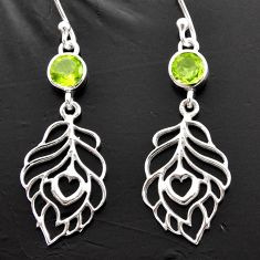 1.74cts natural green peridot 925 sterling silver feather charm earrings d40165