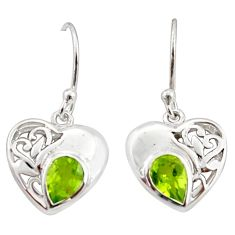 3.13cts natural green peridot 925 sterling silver heart earrings jewelry d40061