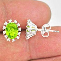 3.65cts natural green peridot 925 sterling silver handmade stud earrings r82906