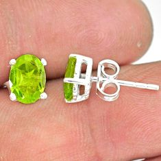 3.72cts natural green peridot 925 sterling silver handmade stud earring r83686