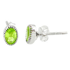 2.83cts natural green peridot 925 sterling silver stud earrings jewelry r87550