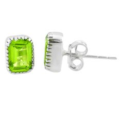 2.62cts natural green peridot 925 sterling silver stud earrings jewelry t22242