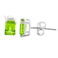 3.01cts natural green peridot 925 sterling silver stud earrings jewelry t30872
