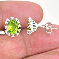 4.07cts natural green peridot 925 sterling silver handmade stud earrings t3701