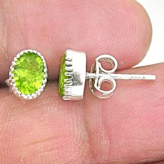 3.04cts natural green peridot 925 sterling silver stud earrings jewelry t4441