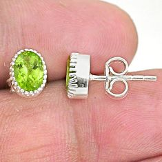 3.11cts natural green peridot 925 sterling silver stud earrings jewelry t4456