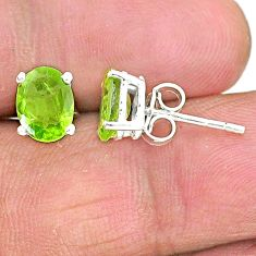 3.67cts natural green peridot 925 sterling silver stud earrings jewelry t4463