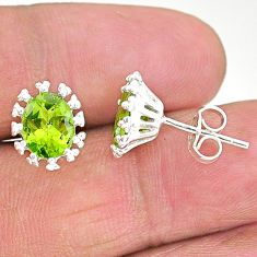 4.45cts natural green peridot 925 sterling silver stud earrings jewelry t4532