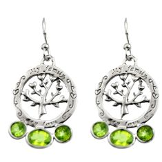 5.54cts natural green peridot 925 sterling silver tree of life earrings d46901