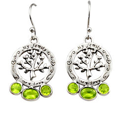 5.55cts natural green peridot 925 sterling silver tree of life earrings r32949