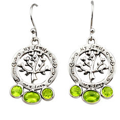 5.54cts natural green peridot 925 sterling silver tree of life earrings r32985