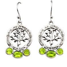 6.27cts natural green peridot 925 sterling silver tree of life earrings r32986