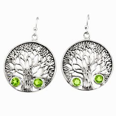 2.41cts natural green peridot 925 sterling silver tree of life earrings r33061