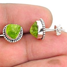 6.68cts natural green peridot rough 925 sterling silver dangle earrings r75101