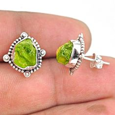 7.87cts natural green peridot rough 925 sterling silver dangle earrings r75102