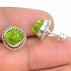 6.64cts natural green peridot rough 925 sterling silver dangle earrings r75103