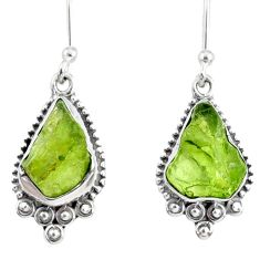 8.56cts natural green peridot rough 925 sterling silver dangle earrings r75161