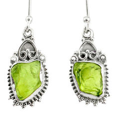8.07cts natural green peridot rough 925 sterling silver dangle earrings r75162