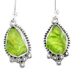 8.56cts natural green peridot rough 925 sterling silver dangle earrings r75163