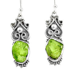 9.39cts natural green peridot rough 925 sterling silver dangle earrings r75165