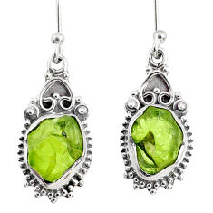 8.56cts natural green peridot rough 925 sterling silver dangle earrings r75166