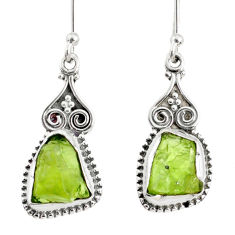 8.87cts natural green peridot rough 925 sterling silver dangle earrings r75167