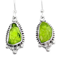 7.96cts natural green peridot rough 925 sterling silver dangle earrings r75169